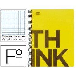 Bloc Folio Liderpapel serie Think cuadricula 4 mm amarillo