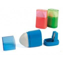 Sacapuntas Liderpapel plastico con goma