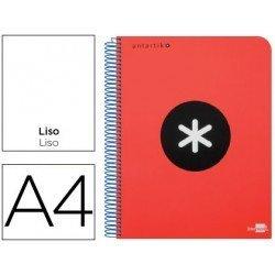 Bloc Antartik A4 Liso tapa Plástico 100g/m2 color Rojo 5 bandas color