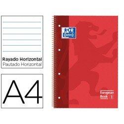 Bloc Oxford Din A4 tapa extradura microperforado Book1 rayado Rojo