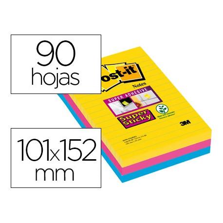 Post-it ® Bloc de notas adhesivas super sticky rayado 101 X 152 mm 90 hojas 3 colores