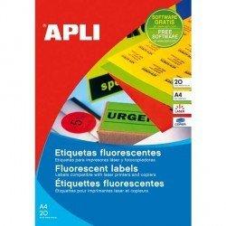 Etiqueta adhesiva Apli 99,1 x 139 mm verde fluor