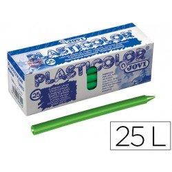 Lapices de cera Jovi Plasticolor verde claro caja de 25 unidades