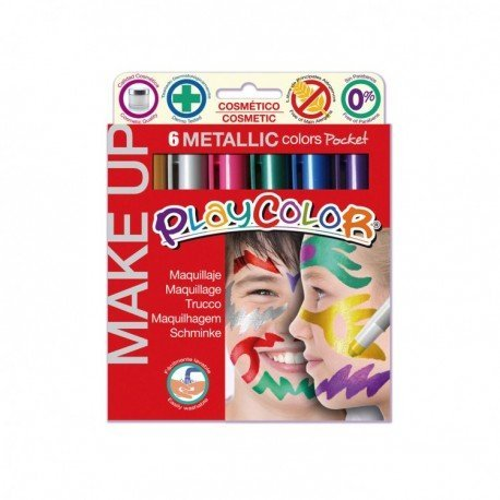 Barra de maquillaje playcolor metallic 6 colores