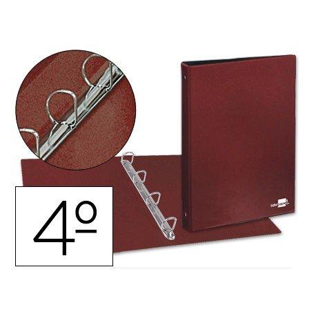 Carpeta plastico Liderpapel 4 anillas lomo 35 mm rojo