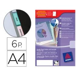 Separador Avery de plastico con 6 pestañas personalizable tamaño din a4