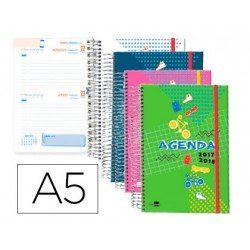 Agenda Escolar 17-18 Dos Dia por pagina A5 Bilingüe Liderpapel Classic No se puede elegir color