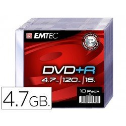 DVD-R Emtec 4,7GB 120min velocidad 16X Caja Slim 10 unidades