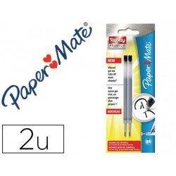 Recambios boligrafo Paper Mate Replay Premium Negro Tinta Gel 2 unidades