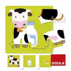 Puzzle a partir de 1 año Vaca 3 niveles marca Goula