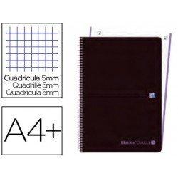 Cuaderno Oxford Ebook 1 A4+ Negro y Malva Tapa Plastico Cuadricula 5 mm