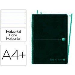 Cuaderno Oxford Ebook 4 A4+ Negro y Menta Hielo Tapa Plastico Rayado Horizontal