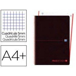 Cuaderno Oxford Ebook 4 A4+ Negro y Naranja Tapa Plastico Rayado Horizontal