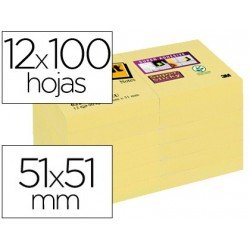 BLOC DE NOTAS ADHESIVAS QUITA Y PON POST-IT SUPER STICKY 51X51 MM PACK DE 12 BLOC AMARILLO CANARIO