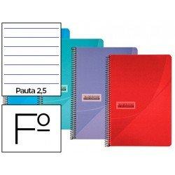 Cuaderno espiral Papercop Folio Rayado Pauta 2,5 mm 90 gr Colores surtidos