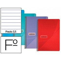Cuaderno espiral Papercop Folio Rayado Pauta 3,5 mm 90 gr Colores surtidos