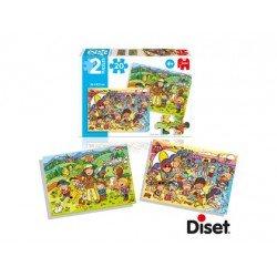 Puzzle en la playa y de excursion a partir de 4 años 2x20 piezas marca Diset
