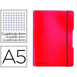 Cuaderno Herlitz Flex DIN A5 Tapa Plastico con gomilla Cuadricula 4 mm Rojo