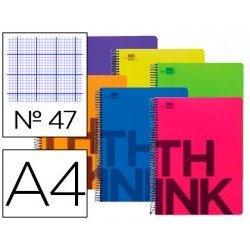 Cuaderno Liderpapel Think Folio Tapa Plastico Rayado Nº47 Colores Surtidos