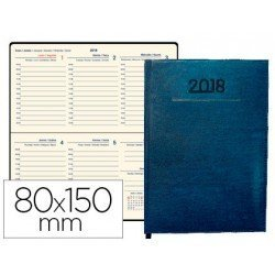 Agenda 2018 Creta Semana vista 80x150 mm Azul Liderpapel