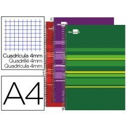 Cuaderno Liderpapel Micro Classic A4 Tapa Forrada Cuadricula 4 mm colores surtidos