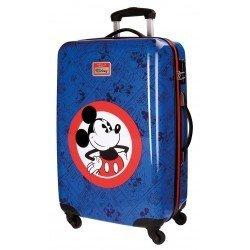 Maleta mediana 68x44x26 cm Rígida con 4 ruedas Hello Mickey Azul