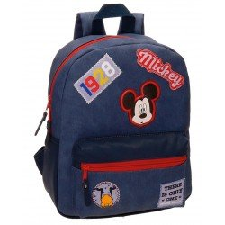 Mochila Mickey Mouse Casual Parches Piel Sintética 27x32x10 cm Azul