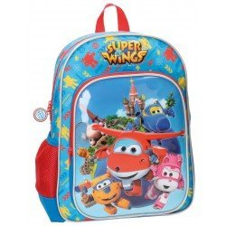 Mochila Super Wings Team Microfibra 29x38x12 cm Azul