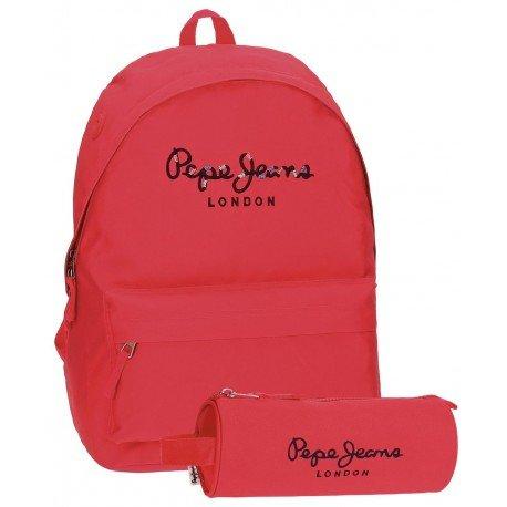 Mochila Pepe Jeans Harlow Poliéster 42x31x17,5 cm Fucsia + estuche escolar