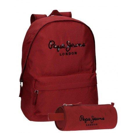 Mochila Pepe Jeans Harlow Poliéster 42x31x17,5 cm Rojo + estuche escolar