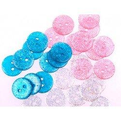 Boton de plastico con Purpurina colores vivos 15 mm itKrea