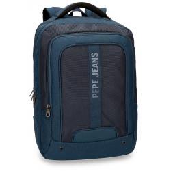 """Mochila para portatil hasta 13,3"""" Pepe Jeans Greenwich Azul doble compartimento"""