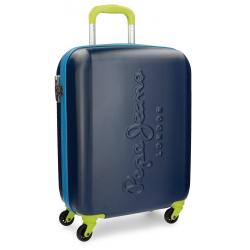 Maleta de Cabina 55x40x20 cm Rigida con 4 ruedas Pepe Jeans Tricolor Azul Marino