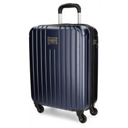 Maleta de Cabina 55x40x20 cm Rígida con 4 ruedas Pepe Jeans Azul Stripes