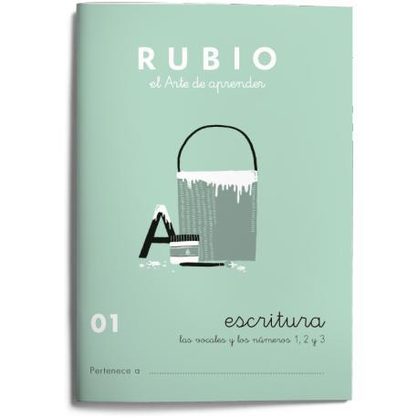 Cuaderno Rubio Escritura nº 1 Las vocales y los números 1, 2 y 3 con puntos, dibujos y grecas 20 páginas