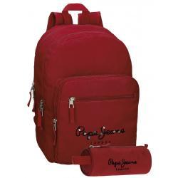 Mochila Pepe Jeans 42,5x30,5x15 cm en Poliéster Harlow Roja adaptable a Ruedas + Estuche Escolar
