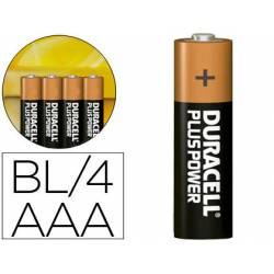 Pilas duracell alcalina plus aa -blister con 4 pilas