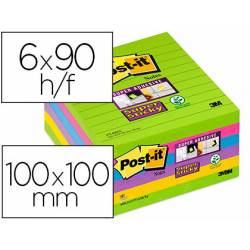 Post it ® Bloc de notas adhesivas Super sticky quita y pon 100x100 mm varios colores Pack de 6 unidades