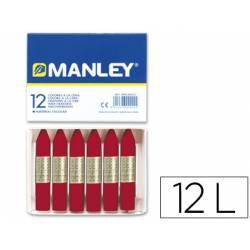 Lapices cera blanda Manley caja 12 unidades color carmin permanente