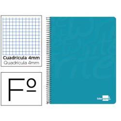 Cuaderno Espiral Liderpapel Write Tamaño Folio Cuadrícula 4 mm Color Turquesa