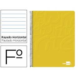 Cuaderno Espiral Liderpapel Write Tamaño Folio Rayado Horizontal Color Amarillo