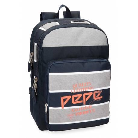 Mochila Pepe Jeans 44x31x15 cm en Poliester Pierre adaptable a carro doble compartimento