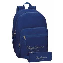 Mochila Pepe Jeans 30,5x42,5x15 cm en Poliester Harlow Azul Marino doble compartimento adaptable a carro